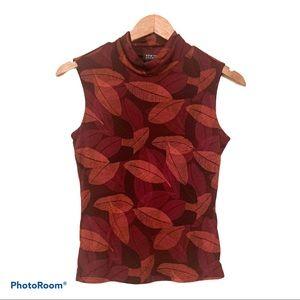 New York & Company Leaf Sleeveless Blouse Top